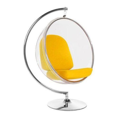 Fotel BUBBLE STAND poduszka żółta - podstawa chrom, korpus akryl, poduszka wełna (5900168812307)