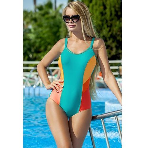 9a2e2c43255be9 Ewlon Jednoczęściowy strój kąpielowy Kostium Jednoczęściowy Model Perla  Seledyn/Orange - Ewlon, kolor pomarańczowy