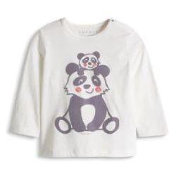 ESPRIT Newborn Bluzka z krótkim rękawkiem PANDA off white, kolor biały