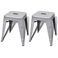 szare małe metalowe stołki składane jeden na drugi, 2 szt marki Vidaxl