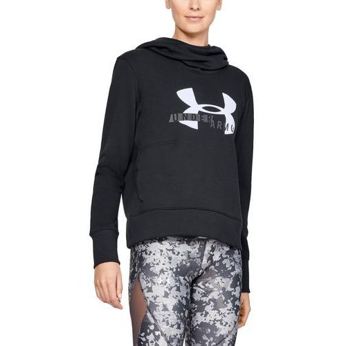 bluza z kapturem damska cotton fleece sportstyle logo hoodie czarna, Under armour