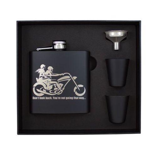 Piersiówka Motocykl Black w zestawie z kieliszkami i lejkiem