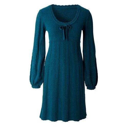 Sukienka dzianinowa bonprix niebieskozielony morski