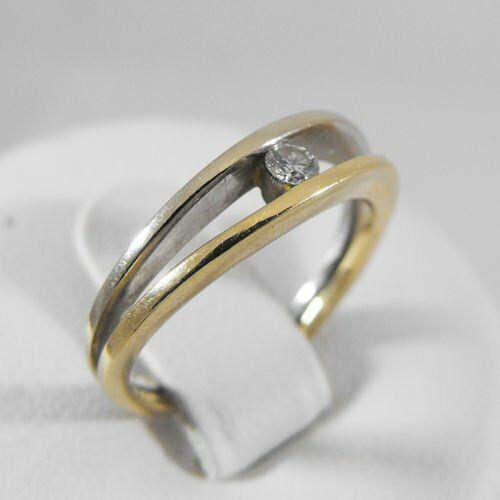 Złoty pierścionek z brylantem P1154, kolor żółty