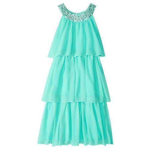 57ab44511d Sukienka szyfonowa z cekinami niebieski mentolowy (bonprix) - sklep ...