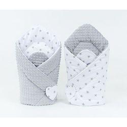 rożek niemowlęcy dwustronny minky gwiazdki szare na bieli / jasny szary marki Mamo-tato