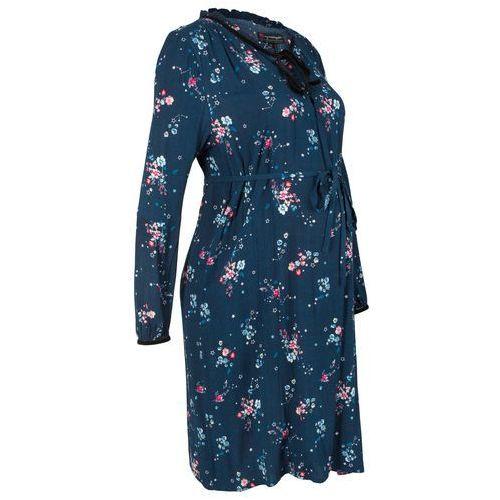Bonprix Sukienka ciążowa i do karmienia ciemnoniebieski w kwiaty