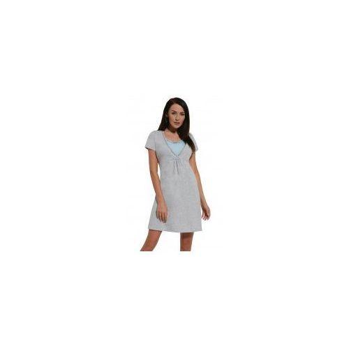 5129cef83e5182 Zobacz w sklepie Koszula nocna ciążowa i do karmienia - Melanż-Błękit kr.  rękaw, kolor niebieski. Dolce Sonno