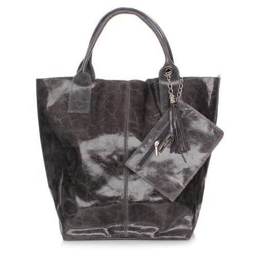 a22cd882f5765 Elegancki Shopperbag Genuine Leather Lakierowana Skóra Szara (kolory ...
