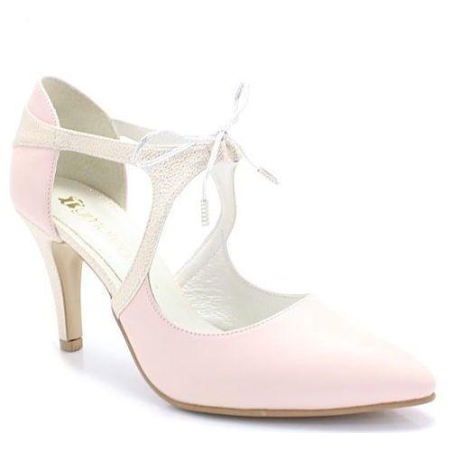 emma pudrowy róż+złoty - buty ślubne - różowy ||złoty marki Tymoteo