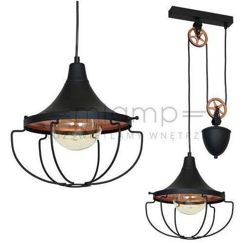 LAMPA wisząca ADX 902G1S metalowa OPRAWA industrialny ZWIS na bloczku drut loft czarny, ADX 902G1S (MLAMP)