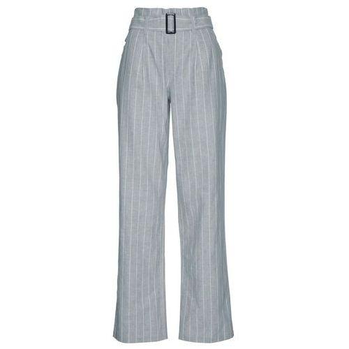 Spodnie lniane Premium z wiązanym paskiem bonprix srebrnoszary-biały, kolor szary