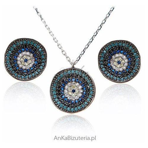 Anka biżuteria Komplet biżuterii srebrny z turkusem i cyrkoniami