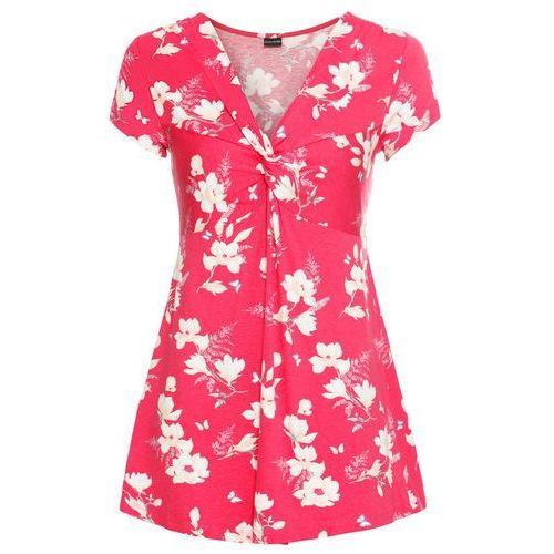 Shirt bonprix różowy w kwiaty, wiskoza