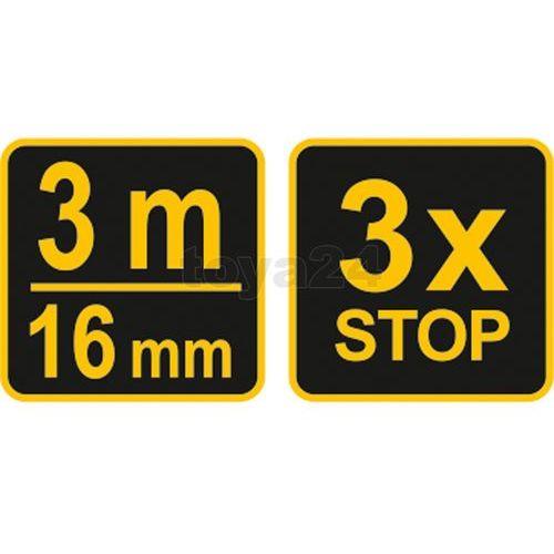 Miara zwijana żółto-czarna 3 m x 16 mm Vorel 10123 - ZYSKAJ RABAT 30 ZŁ (5906083101236)