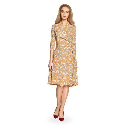 Rozkloszowana Sukienka Midi w Kwiatowy Nadruk - Miodowa, ES096ye