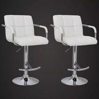 Vidaxl krzesła barowe białe, eleganckie z oparciem i podłokietnikami
