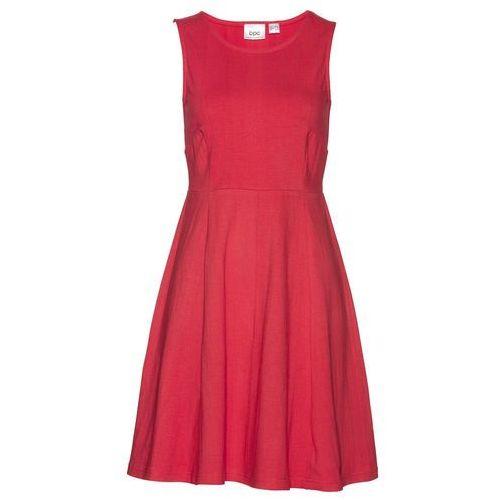 Sukienka bez rękawów z dżerseju bonprix czerwony