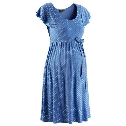 Sukienka ciążowa błękitny w kropki, Bonprix, 32-54