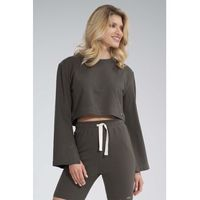 Krótka bawełniana bluza z szerokim rozciętym rękawem - oliwkowa