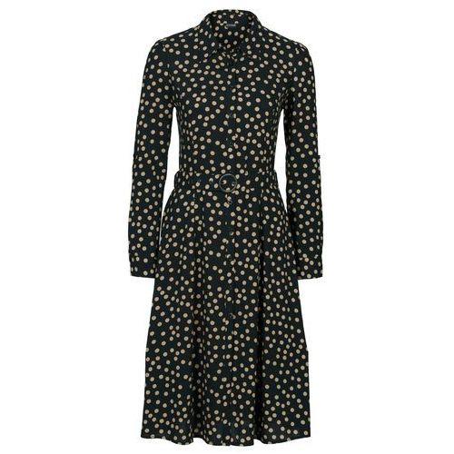 Sukienka bonprix czarno-wielbłądzia wełna w groszki
