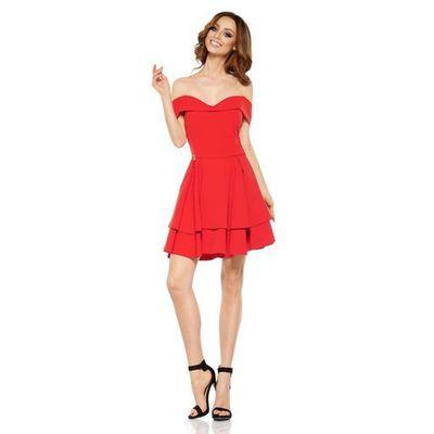 77fcdf5546cb96 suknie sukienki czerwona imprezowa sukienka z rozporkiem i ...