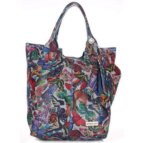 Vittoria gotti Torba skórzana shopper bag made in italy w motyle multikolor - niebieska (kolory)