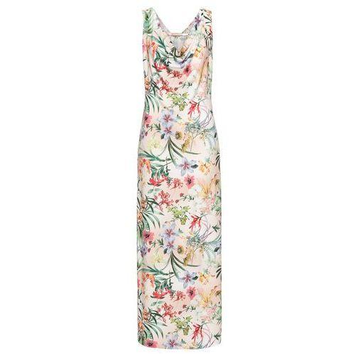 Sukienka w kwiatowy deseń bonprix beżowo-zielono-różowy w kwiaty, w 6 rozmiarach
