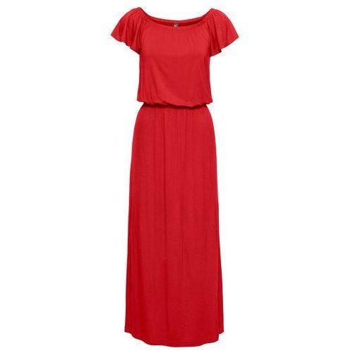 """Sukienka shirtowa z dekoltem """"carmen"""" bonprix truskawkowy, kolor czerwony"""