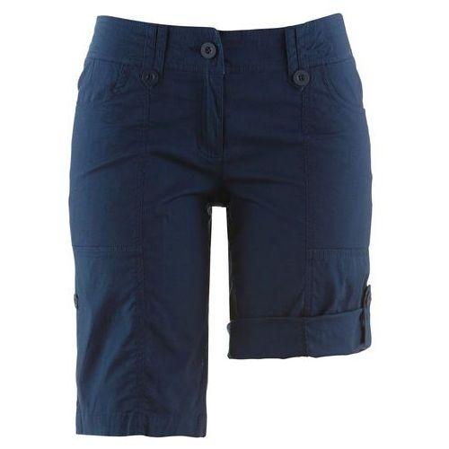 """Bermudy ze stretchem """"papertouch"""" bonprix ciemnoniebieski, kolor niebieski"""
