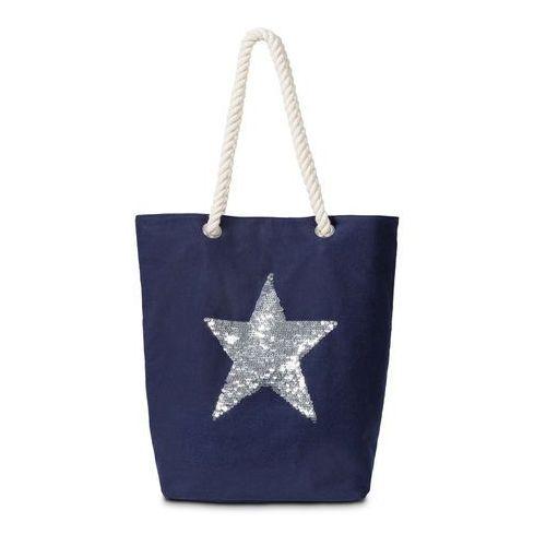 Bonprix Torba shopper z motywem gwiazdy ciemnoniebiesko-srebrny kolor