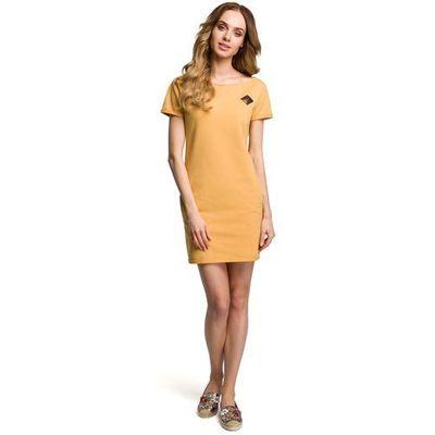 0d954e8093 Żółta Dopasowana Mini Sukienka z Ozdobną Naszywką