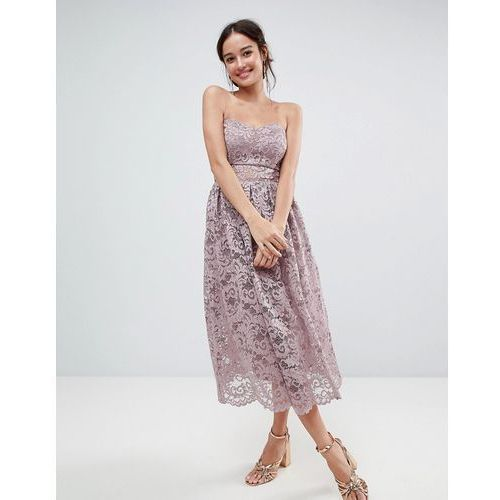 ASOS DESIGN bandeau lace midi prom dress - Pink