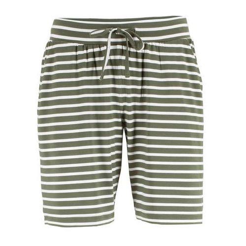 Bermudy shirtowe bonprix oliwkowo-biel wełny w paski, wiskoza