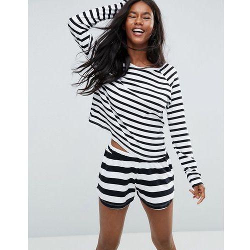 Black & white stripe long sleeve long sleeve tee & short pyjama set - multi, Asos, XS-M