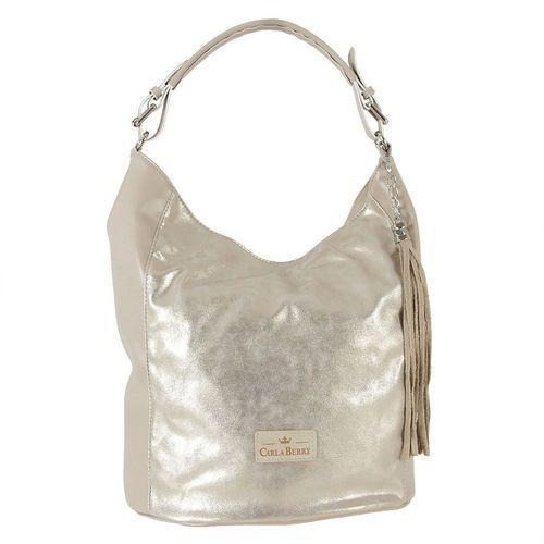 786377105e524 Złoto-beżowa torebka damska shopperka z chwostem - beżowy ||złoty, kolor  beżowy
