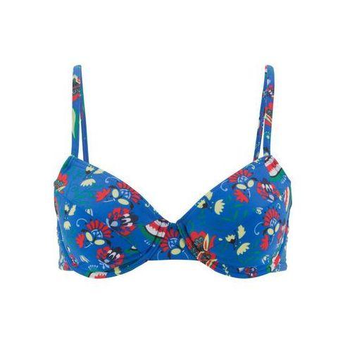 6bc4f17cc5fc5a Biustonosz bikini na fiszbinach bonprix niebieski z nadrukiem, góra -  Fotografia Biustonosz bikini na fiszbinach