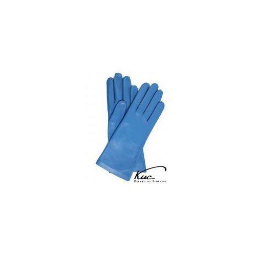 Kuc Eleganckie niebieskie rękawiczki skórzane damskie  nieocieplane i ocieplane