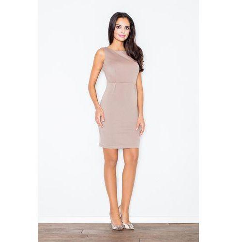 Beżowa modna ołówkowa sukienka bez rękawów, Figl, 36-42