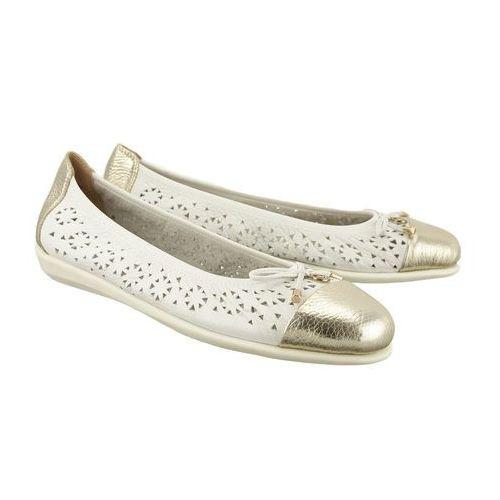 CAPRICE 22118-20 121 white/gold deer, baleriny, czółenka damskie - Biały, kolor biały