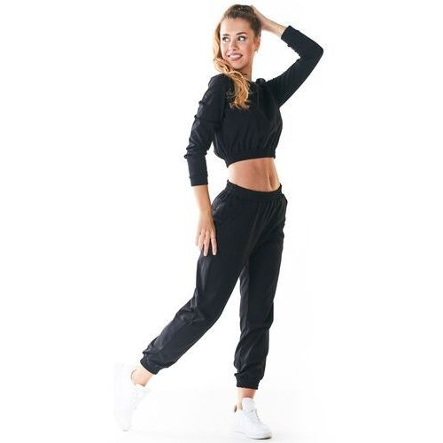 Czarne klasyczne dresowe spodnie na gumie, kolor czarny