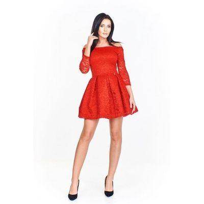 4f2a056b4f Koronkowa sukienka z odkrytymi ramionami dopasowana od góy i rozkloszowana  u dołu