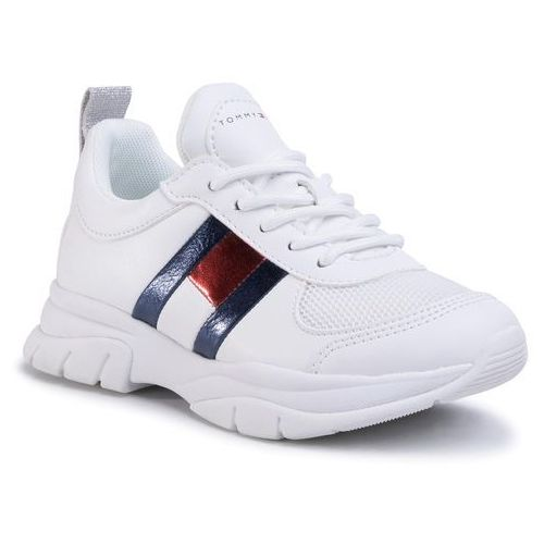 Sneakersy - low cut lace-up sneaker t3a4-30633-0968 m white 100 marki Tommy hilfiger