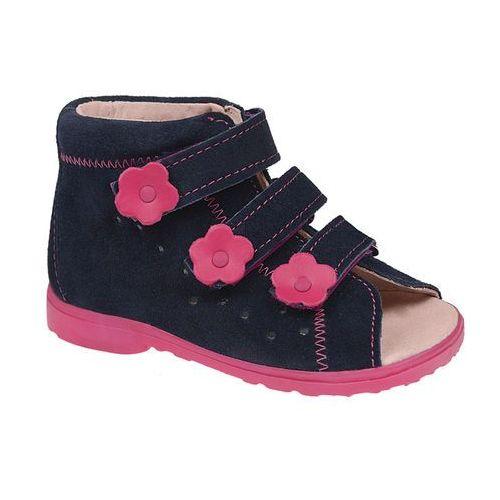 Sandałki Profilaktyczne Ortopedyczne Buty DAWID 1041 Granat+Róż GRC - Granatowy ||Różowy ||Multikolor