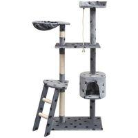 vidaXL Drapak dla kota, 150 cm, szary ze wzorem w kocie łapki