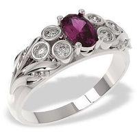 Węc - twój jubiler Pierścionek w rozmiarze 10z białego złota z rubinem i diamentami lp-38b
