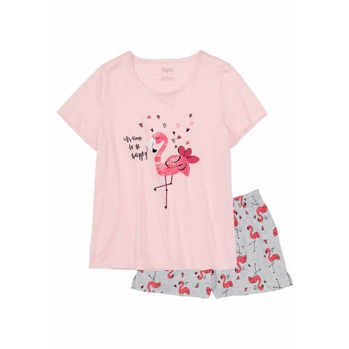 7e853cc1fe818b Zobacz w sklepie Bonprix Piżama z krótkimi spodenkami  jasnoróżowo-jasnoszary melanż z nadrukiem