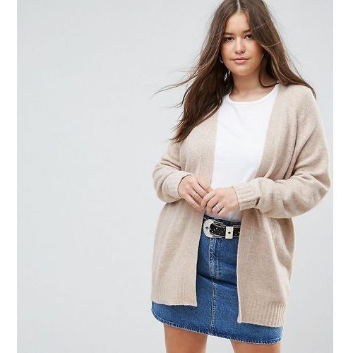 Chunky knit cardigan in wool mix - beige, Asos curve