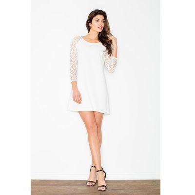 b7f4da51fa Ecru Trapezowa Sukienka z Koronkowym Długim Rękawem MOLLY