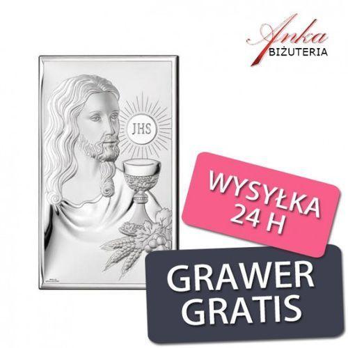 ankabizuteria.pl Obrazek srebrny - jezus - pamiątka pierwszej komunii św 9*15 cm